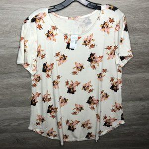 Maurices Large Round Neck Cream Fall Top Shirt NEW